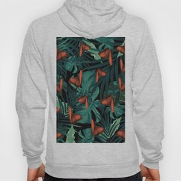 Tropical Butterfly Jungle Night Leaves Pattern #2 #tropical #decor #art #society6 Hoody