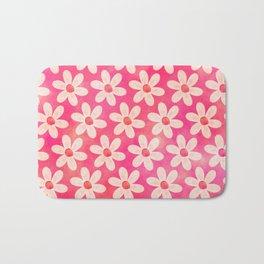 Watercolor Daisies in Pink Bath Mat