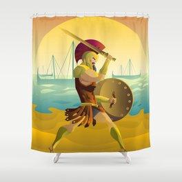 trojan warrior in beach near trireme greek ships Shower Curtain