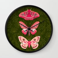 Wall Clocks featuring Lepidoptery No. 7 by Andrea Lauren  by Andrea Lauren Design