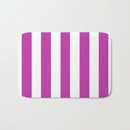 Byzantine fuchsia - solid color - white vertical lines pattern Bath Mat