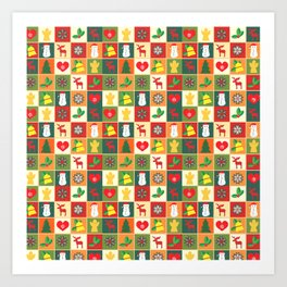 Merry christmas pattern #society6 Art Print