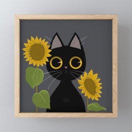 Feline no. 3. Black cat Framed Mini Art Print