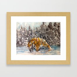 Tiger and City Framed Art Print