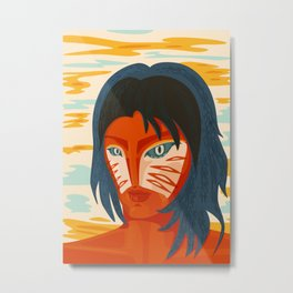 Orange Alien Girl Trippy Weird Portrait Metal Print
