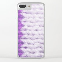 Violet White Wool Knitting Texture Clear iPhone Case