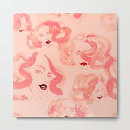 A pattern of glamorous girls with wavy hair - in colors of apricot and tea rose Metal Print