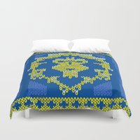 warcraft Duvet Covers featuring Ugly Sweater 1 by SlothgirlArt