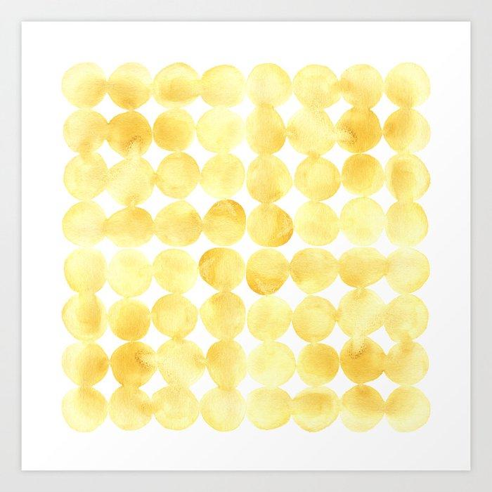 Imperfect Geometry Yellow Circles Art Print