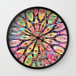 Cubistic Rainbow Flower Kaleidoscope Wall Clock