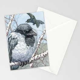 Pensive Crow Stationery Cards