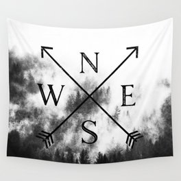Foggy Forest Compass Wall Tapestry