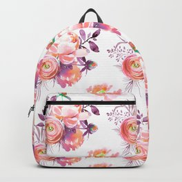 Purple orange pink hand painted watercolor roses Backpack