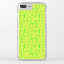 Big Monstera Tropical Leaf Hawaii Rain Forest Lemon Yellow and Lime Green Clear iPhone Case