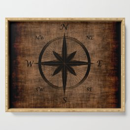 Nostalgic Old Compass Rose Serving Tray