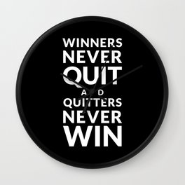 Winners Never Quit - Vince Lombardi quote Wall Clock