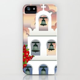 Island Santorini sunset White belfry with bougainvillea from Greece iPhone Case