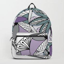 Mandala in Purple and Green Gray Backpack