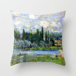 Claude Monet View of Vetheuil on the Seine Throw Pillow
