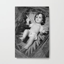 Baby Jesus in the crib Metal Print