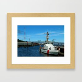 US Coast Guard On Columbia River Framed Art Print