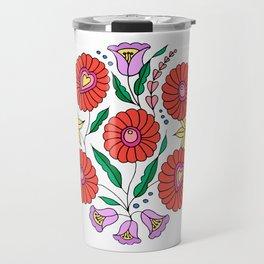Hungarian embroidery inspired pattern white Travel Mug