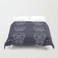 skulls Duvet Covers featuring Skulls by Hipster