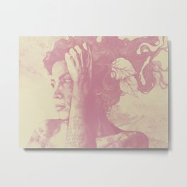 Beneath Broken Earth: Pink Shadow (lady portrait with autumn leaves) Metal Print