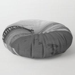 Black And White Nags Head Beach Sunrise Floor Pillow
