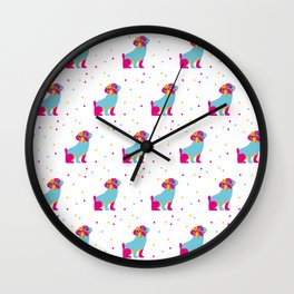 Percy Pug Pattern Wall Clock