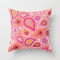 Colorful summer paisleys Throw Pillow