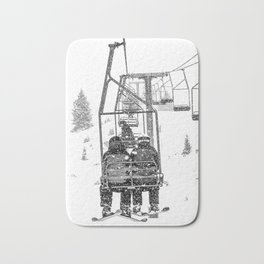 Snow Lift // Ski Chair Lift Colorado Mountains Black and White Snowboarding Vibes Photography Bath Mat