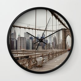 View on downtown from the Brooklyn Bridge in New York City, USA | Travel photography print | New York people walking | Tipical NY building architecture photo Art Print Art Print Wall Clock