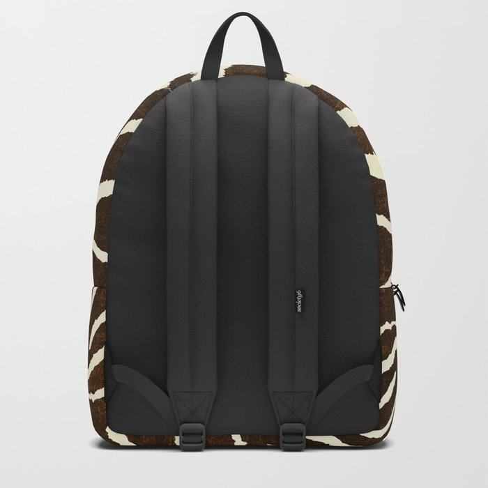 ANIMAL PRINT ZEBRA IN WINTER 2 BROWN AND BEIGE Backpack