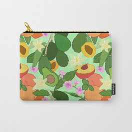 Avocado + Peach Stone Fruit Floral in Mint Green Carry-All Pouch