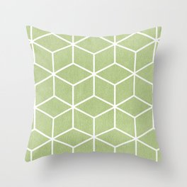 Lime Green and White - Geometric Textured Cube Design Throw Pillow