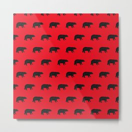Lumberjack Rustic Black and Red Bears Metal Print