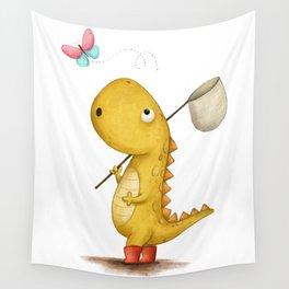 The Bug Catcher - Dinosaur Illustration Wall Tapestry