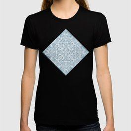 Blue Grey and White Textured Folk Art Doodle T-shirt