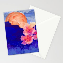 Vibrant Watercolor Mountains, Sunny, Flower Nature Abstract Art Mid-century Retro and Mindful vibes Stationery Cards