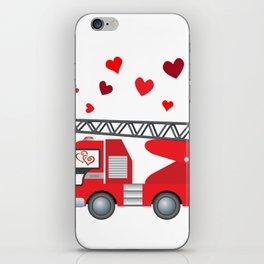 Valentine's Day Firetruck Hearts Gift Kids Boys iPhone Skin
