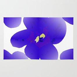 Large Retro Blue Flowers #1 White Background #decor #society6 #buyart Rug