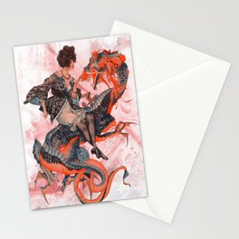 Woman, Dragon, Vintage, Art, Fantasy, Mystical, Warrior. Vintage. Retro. Illustration.  Stationery Cards
