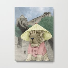 Shar Pei on the Great Wall (China) Metal Print