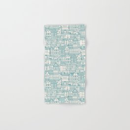 cafe buildings blue Hand & Bath Towel
