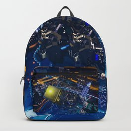 Tardis doctor who flying above modern starry night city Backpack