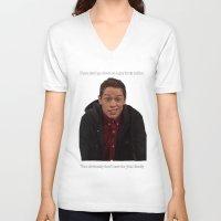 snl V-neck T-shirts featuring Pete Davidson Talks Business by F*** Me Pete Davidson