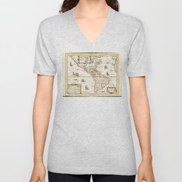 Map of North and South America (1661) Unisex V-Neck