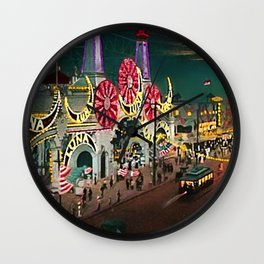 Luna Park Coney Island Amusement Park, New York, New York Portrait Wall Clock