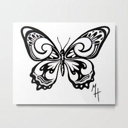 Ink Butterfly Metal Print